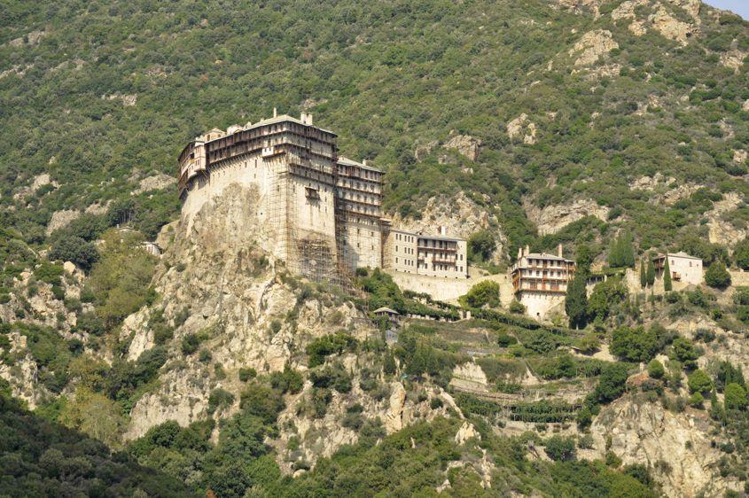 Bottom view of Simonos Petras Monastery